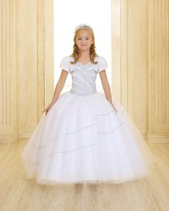 First Communion Dress with Beaded Halter Bodice