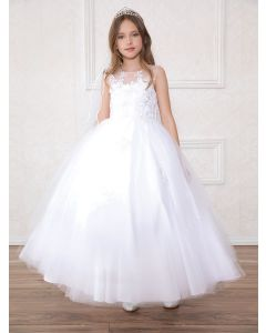 First Communion Dress with Flower Appliques