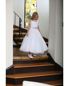 Lace First Communion Dress with Illusion Neckline