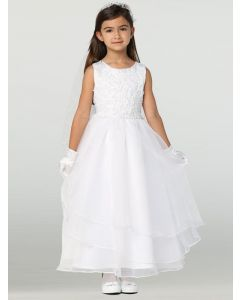 First Communion Dress with Layered Skirt