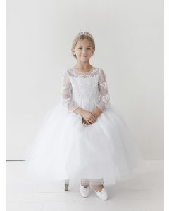 First Communion Dress with Long Sleeves Lace Appliques