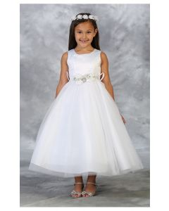 First Communion Dress with Rhinestone Belt
