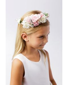 First Communion Floral Crown Wreath Headpiece with Large Flowers with satin ribbon