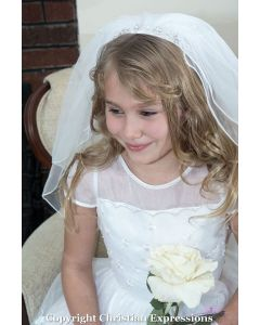 First Communion Headband Veil with Rhinestones and Pearls