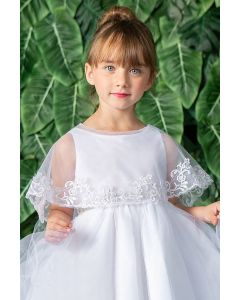 Flower Laced Closed Back First Communion Cape