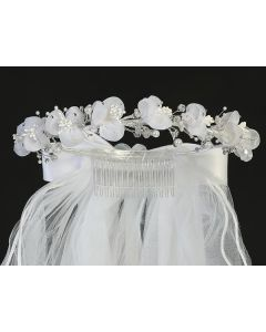 Rhinestone Gem Pearl Flower Crown First Communion Veil