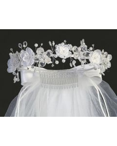 Wreath First Communion Veils Organza Crystal Flowers and Rhinestones