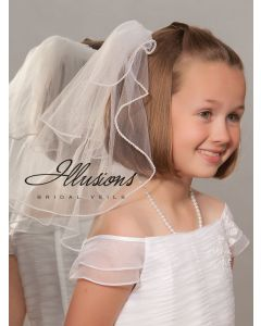First Communion Veil with Pearl Trim-3 Sizes Available