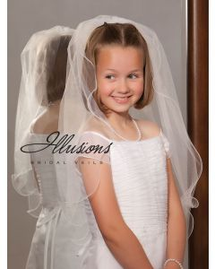 First Communion Veil with Filament Edge-3 Sizes Available