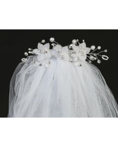 Bun Wrap First Communion Veils Flowers Pearls