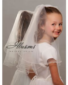 First Communion Veil with Pearl Edge -3 Sizes Available