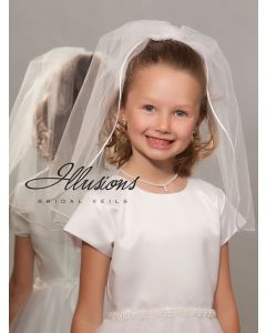 First Communion Veil with Rattail Edge-3 Sizes Available