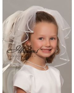 First Communion Veil with Rhinestone Trim-3 Sizes Available