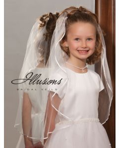 First Communion Veil with Ribbon Trim-3 Sizes Available