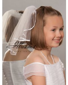 First Communion Veil with Satin Edge -3 Sizes Available