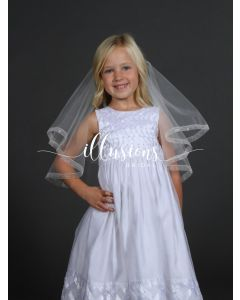 First Communion Veil with Sheer Ribbon Trim-3 Sizes Available