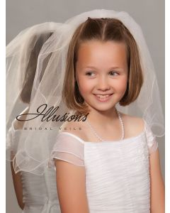 First Communion Veil with Wavy Edge-3 Sizes Available