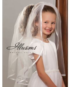 First Communion Veil with Wide Ribbon Trim-3 Sizes Available