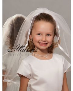 First Communion Veil with Wide Satin Trim-3 Sizes Available