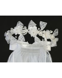 Girls First Communion Veil and Headpiece with Flowers