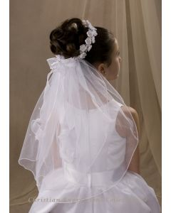 First Communion Wreath Veil Two Tier Satin Rosettes