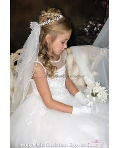 First Communion Wreath Veil With Pearls and Crystals