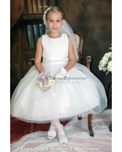 Lace Bodice with Rosettes First Communion Dress