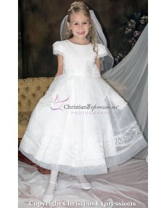 Short Sleeve Organza and Embroidered Leaves First Communion Dress