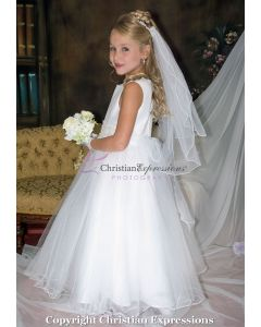 Ruffled Hem with Lace Floral Waistline First Communion Dress
