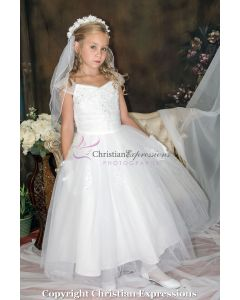 Sequin Appliques Organza First Communion Dress
