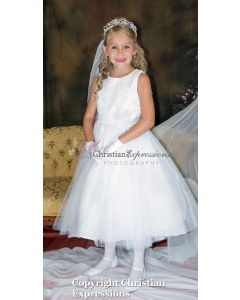 Floral and Rhinestone Accented Bodice First Communion Dress
