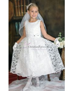 Sequined Lace Overlay First Communion Dress