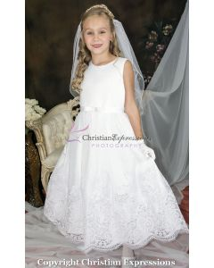 Satin and Lace Embellished First Communion Dress