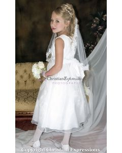 Satin with Pearl Rosettes Waistline First Communion Dress