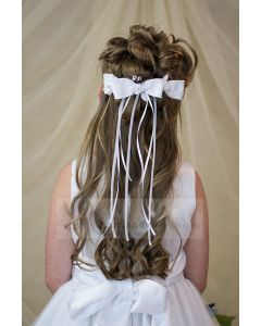 First Communion Bow Headpiece with Satin Bow and Streamers