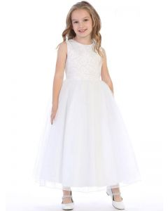 First Communion Dress with Swirl Beading