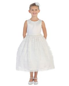 First Communion Dress with Beaded Waistline and Embellished Mesh Skirt