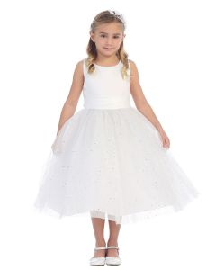 First Communion Dress with Heavy Glitter Skirt with Cummerbund belt