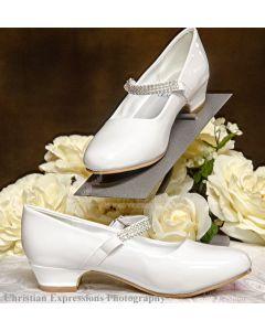 Shoes girls white First communion rhinestone strap