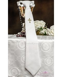 Boys first communion tie white with Gold Cross