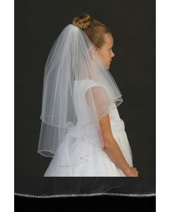 First Communion Veil with Rhinestone Trim in Clear Casing