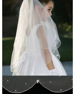 Veil with Scalloped Cord Edging and Pearl Drops