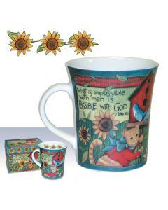 Floral Cat Luke Christian Coffee Mug Gift Boxed