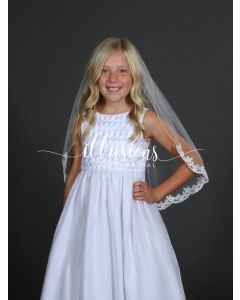 Flower Lace First Communion Veil-3 Sizes Available