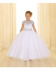 First Communion Dress with Silver Accents and Cap Sleeves