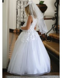 First Communion Dress with Floral Bodice
