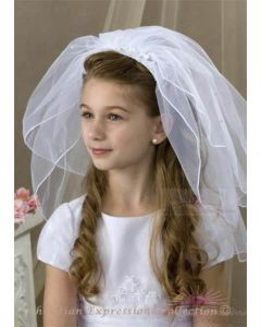 First Communion Headband Veil with Lace Flowers and Rhinestones