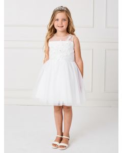 Short Holy Communion Dress with Appliques