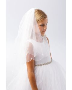 First Communion Veil with Pearls Scalloped Edge