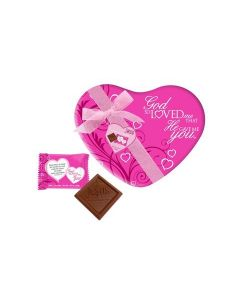 God So Loved Me Heart Scripture Candy Pink Tin
